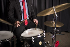 Hands and Torso of Drummer  Royalty Free Stock Image