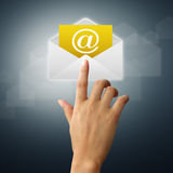 hands touch on the envelope and mail Royalty Free Stock Photography