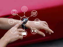 Hands touch icon customer network connection on smart watch, Omni Channel. Or Multi channel stock images