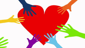 Hands touch red heart for love tree stock footage