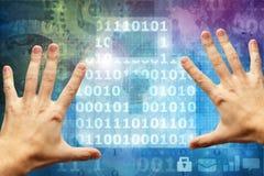 Hands touching digital lock Stock Photo