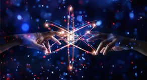 Free Hands Touching Science,network Connection And Data Exchange Stock Photo - 104744790