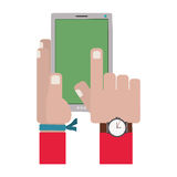 Hands touching a smartphone screen. Vector illustration Stock Photos