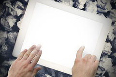 Hands touching tablet screen Stock Photography