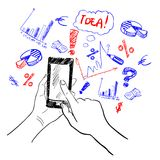 Hands touchscreen sketch business Royalty Free Stock Photos
