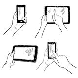 Hands touchscreen sketch set. Hand gestures holding smartphone tablet touchscreen sketch set isolated vector illustration Royalty Free Stock Image