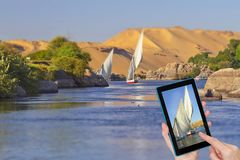 Travel to Nile river in Egypt stock photography