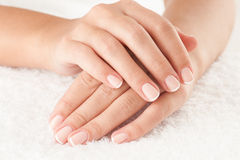Hands on towel. Beautiful hands on the white towel royalty free stock photo