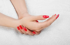 Hands on towel - Manicure Stock Image