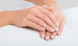 Hands on towel - Manicure Royalty Free Stock Images