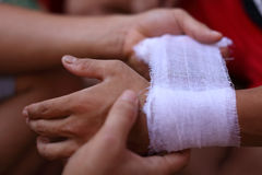 Hands of a traditional Burmese kickboxer (Lethwei) Royalty Free Stock Photography