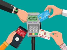 Wireless, contactless or cashless payments. Hands with transport card, smartphone, smartwatch and bank card near POS terminal. Wireless, contactless or cashless Stock Images
