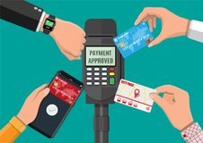 Wireless, contactless or cashless payments. Hands with transport card, smartphone, smartwatch and bank card near POS terminal. Wireless, contactless or cashless Royalty Free Stock Images