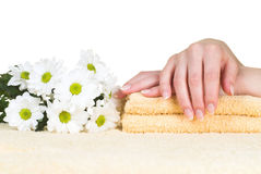 Hands treatment. Relaxation in spa salon. Isolated on white stock photo