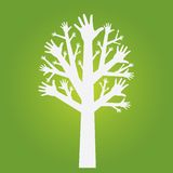 Hands tree. On olive green background Stock Images
