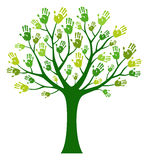 Hands tree. Green hands tree isolated on white Royalty Free Stock Images