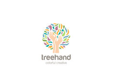 Hands Tree Logo design vector. Helping Charity Logo Stock Images