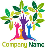 Hands tree logo stock illustration