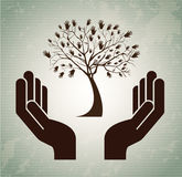 Hands tree. Over vintage background vector illustration Royalty Free Stock Photo
