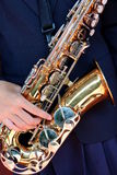 Hands on a trumpet close up. Royalty Free Stock Photography