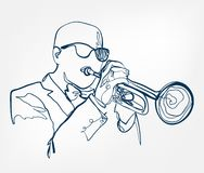 Hands trumpet sketch line  design music instrument vector illustration