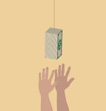 Hands trying to reach hanging money. Vector of Hands trying to reach hanging money vector illustration
