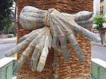 Hands. Tu hands captured in a wall ceuta 2017 Stock Photos