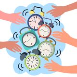 Hands turn off alarms vector illustration Vector Illustration