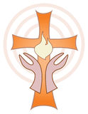 Hands turned towards Cross with Flame Royalty Free Stock Photography