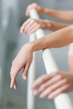 The  hands of two classic ballet dancers at barre. The hands of two classic ballet dancers at ballet barre on a  white room background Stock Image