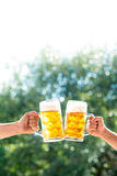 Hands of two men holding mugs of of beer Stock Photos