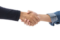 Hands of two men wearing casual clothes making handshake Stock Photos