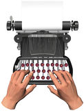 Hands type on antique typewriter copyspace. Illustration of hands with fingers on the home keys of old antique typewriter and copyspace Royalty Free Stock Photos