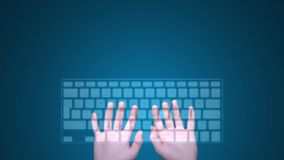 Hands typing on digital keyboard stock footage