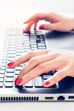 Hands typing Royalty Free Stock Photos
