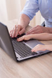 Hands typing on the keyboard Stock Photography