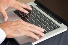 Hands Typing On Keyboard Royalty Free Stock Images