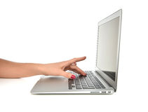 Hands typing on keyboard computer laptop with blank copy space s Royalty Free Stock Images