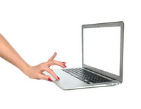 Hands typing on keyboard computer laptop with blank white space Stock Image