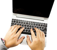 Hands typing keyboard laptop Royalty Free Stock Photo