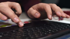 Hands Typing On Keyboard. Man Hands Typing On Keyboard. Close Up stock video