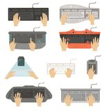 Hands typing on keyboard set, different types of computer console top view vector Illustrations on a white background Royalty Free Stock Photos