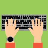Hands typing on keyboard. stock photography