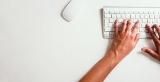 Hands typing on keyboard - Stock image Royalty Free Stock Image