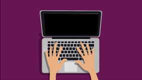 Hands typing on the laptop animation