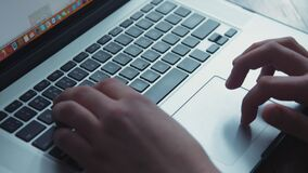 Hands typing on laptop keypad. Blackmagic ursa mini 4,6k stock video footage