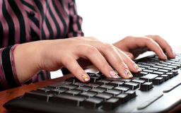 Hands of typing secretary Stock Photo