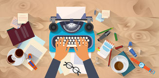 Hands Typing Text Writer Author Blog Typewrite Wooden Texture Desk Top Angle View Royalty Free Stock Image