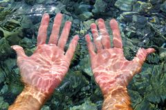 Hands underwater river water wavy distorted royalty free stock photos
