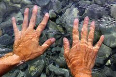 Hands underwater river water wavy shapes Royalty Free Stock Photo